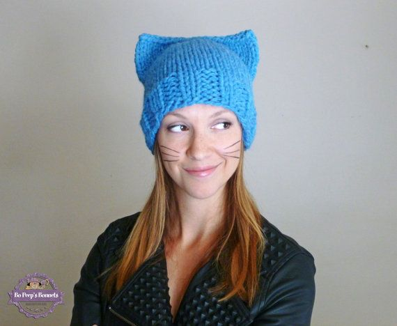 Sombrero de gato Cat gorro gato orejas 30 colores | knitting hats ...