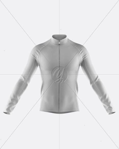 Mens FullZip Cycling Jersey With Long Sleeve Mockup  Front View Mens FullZip Cycling Jersey With Long Sleeve Mockup  Front View Longsleeve Top White FR0566 KnowledgeCotto...