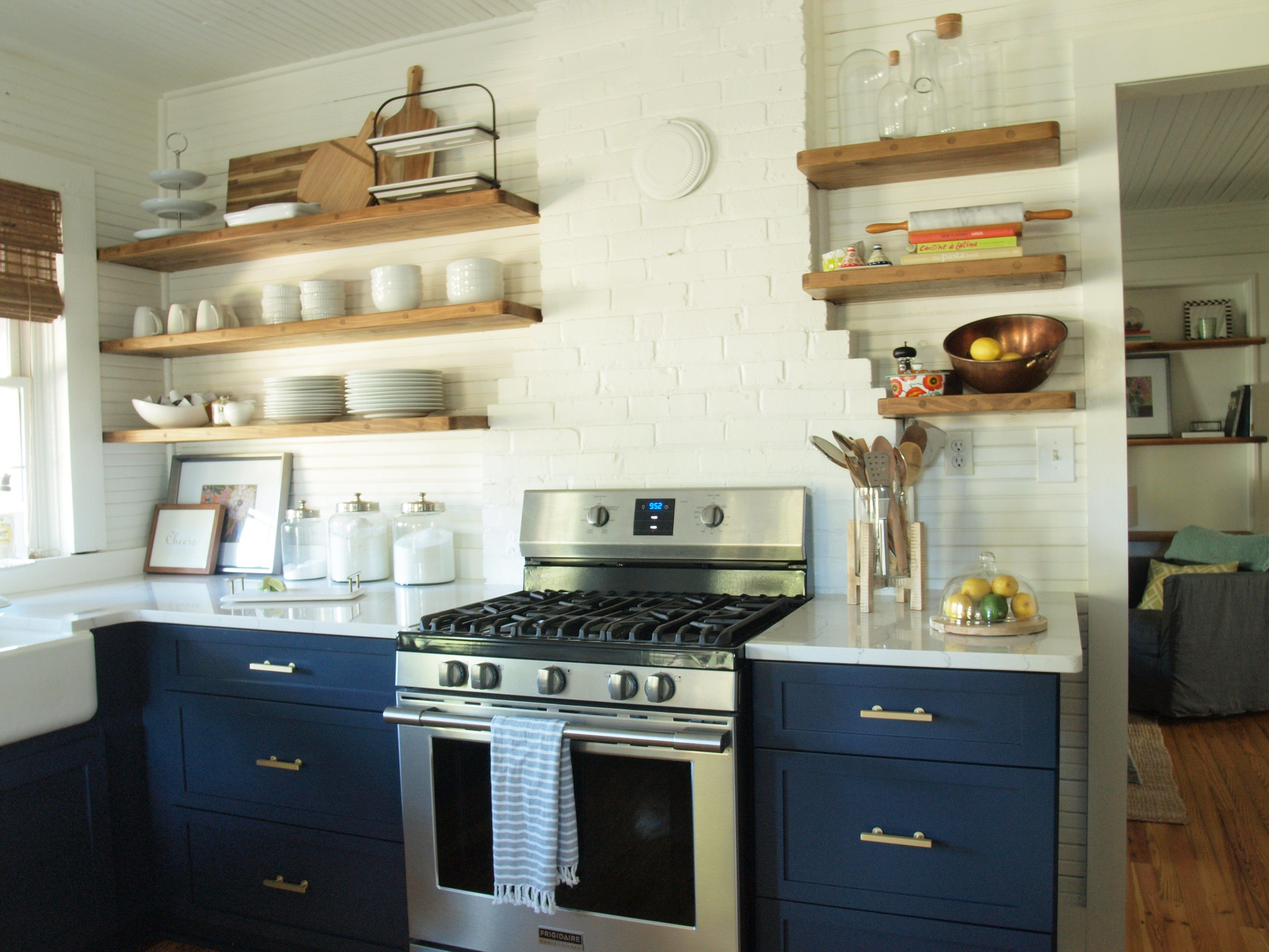 Navy kitchen cabinets with open shelving | Photo Shoot Ideas ...