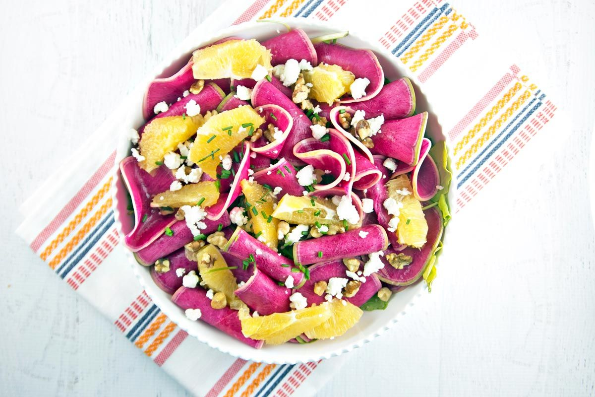 Watermelon Radish Citrus Spinach Salad Recipe
