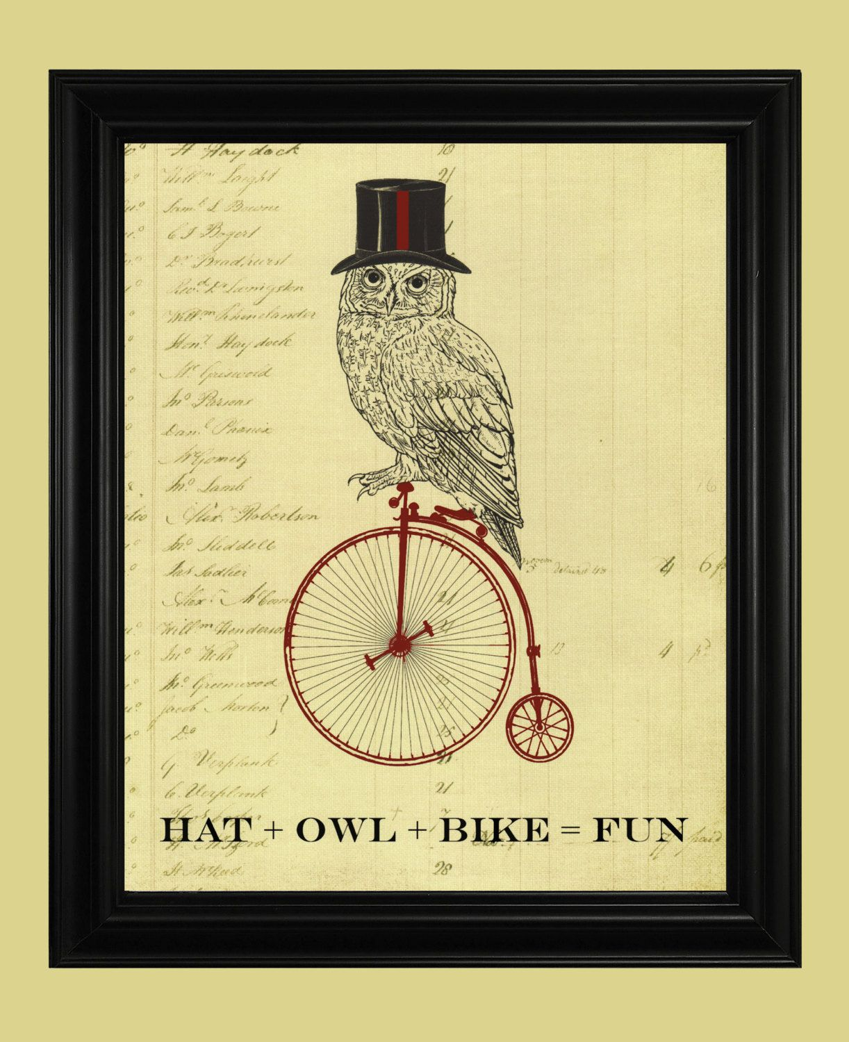 Owl Riding a Bicycle Poster, Vintage High Wheeler Bicycle ...