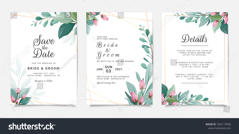 Set Card Floral Wedding Invitation Template Nature Backgrounds Textures Stock Im Wedding Invitation Templates Floral Wedding Invitations Wedding Invitations