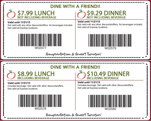 Souplantation Promo Codes for December Save 20% w/ 85 active Souplantation Single-use codes and Sales. Today's best cinemaflavour27.ml Coupon: One Adult Meal for $ at Souplantation. Get crowdsourced + verified coupons at Dealspotr/5().