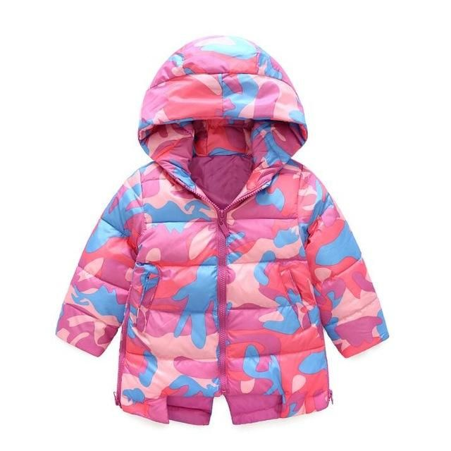 dff3ee1ec Sale 3-10Yrs Baby Girls Jacket Fashion coat Children clothes down cotton  girls winter coat hooded jacket for girl