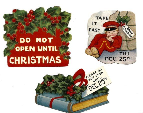 Three retro vintage Do Not Open Until Christmas stickers gummed