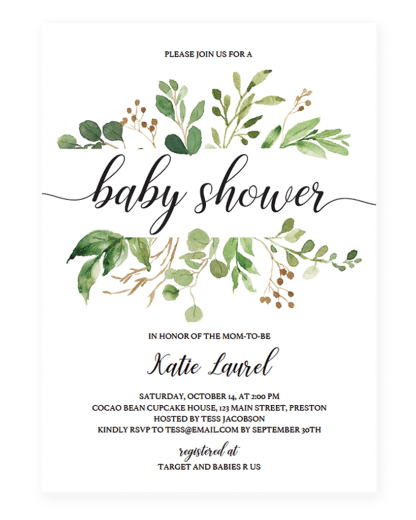Green Leaf Template For Baby Shower Invitation In 2019 Baby