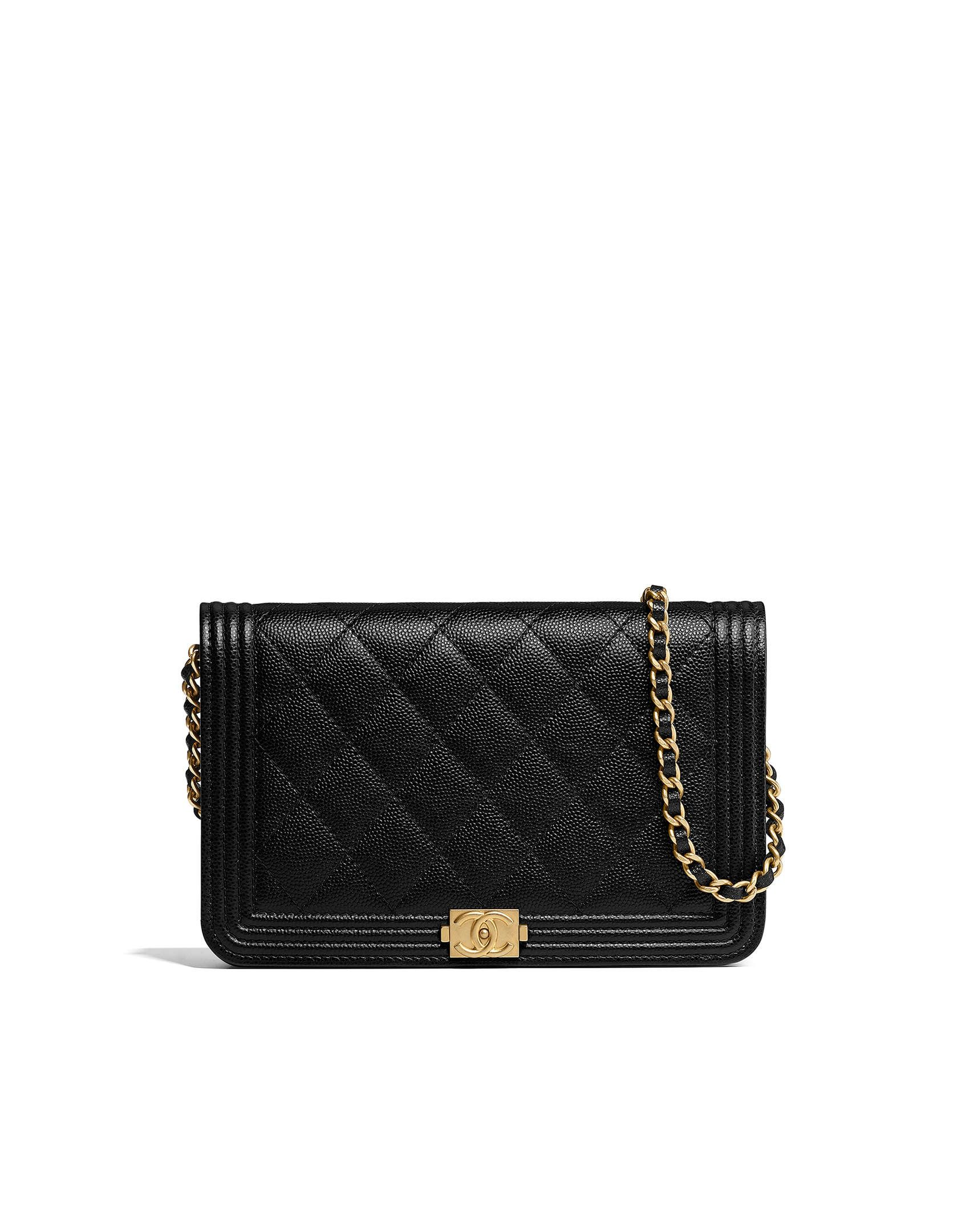 15a4941db7c2 BOY CHANEL wallet on chain, grained calfskin & gold-tone metal-black -  CHANEL $2500