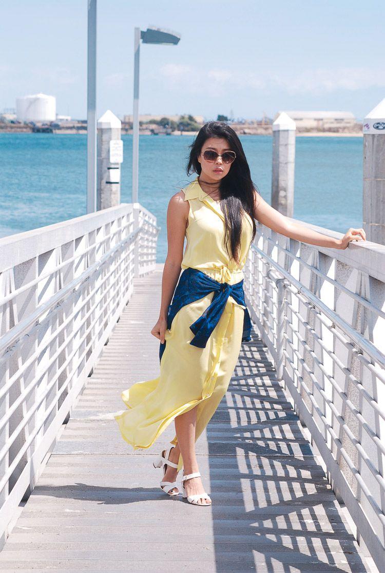 Yellow dress blue blouse white sandals women dress like girly