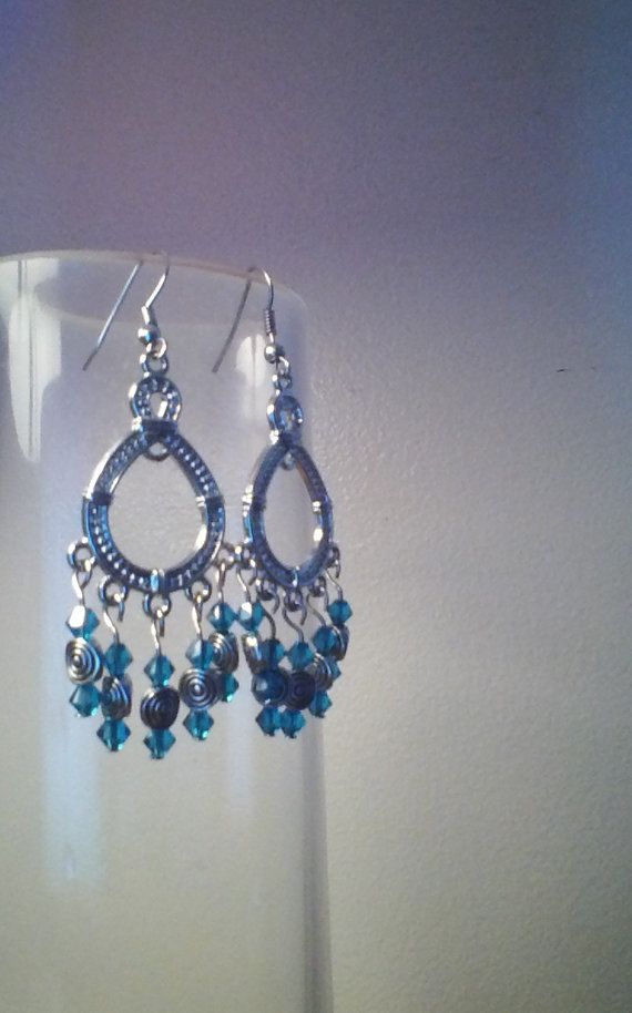 aquamarine crystal chandelier earrings by SageEpiphany on Etsy, $8.99