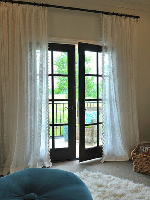 Sheer Curtain W Dark Stain Do You Hang The Rod Near The Ceiling Or Near The Door Frame French Doors Interior French Door Curtains Door Curtains Designs