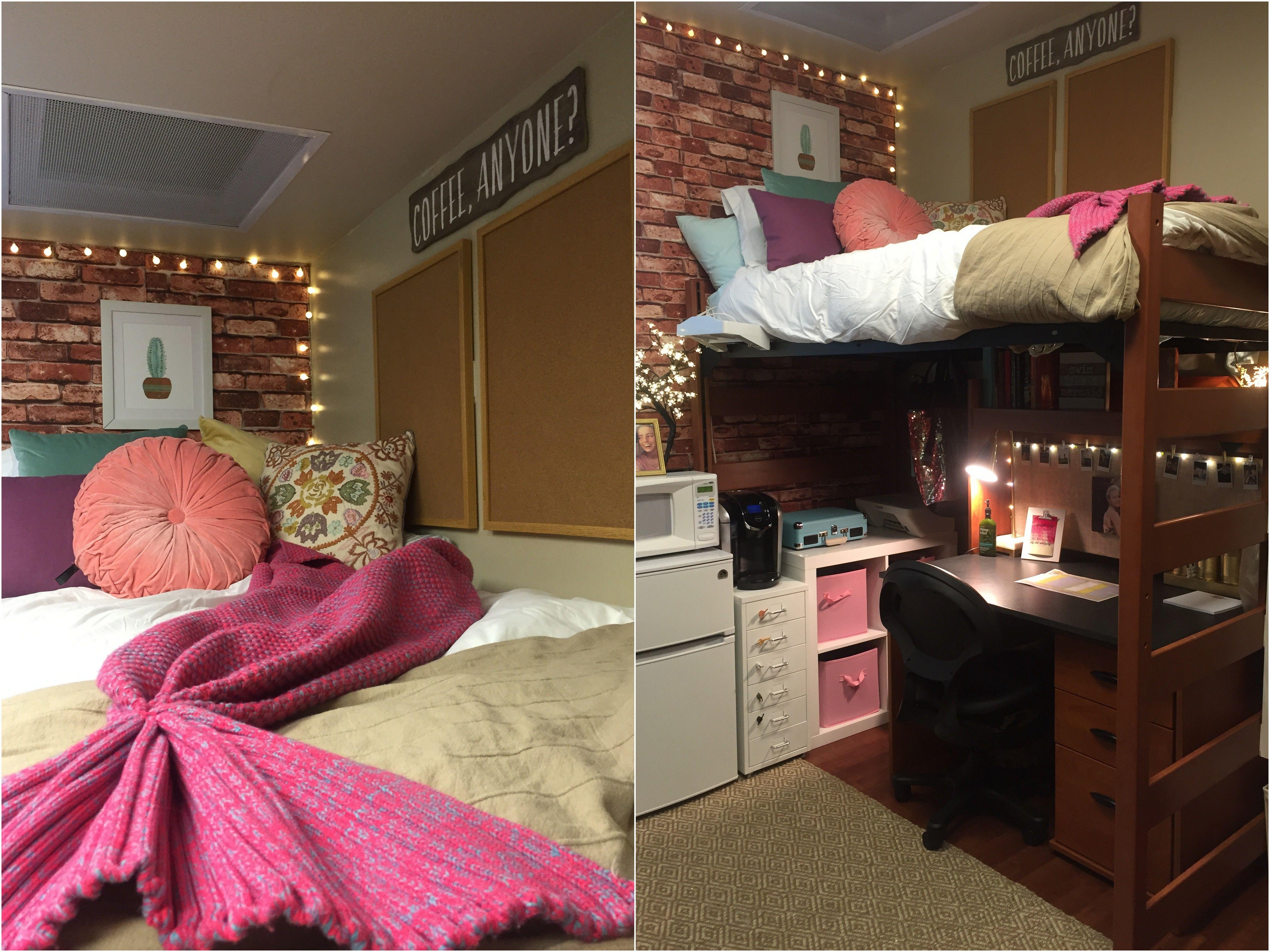 Creative dorm room ideas to make your space more cozy brick wallpaper - College dorm room ideas examples ...
