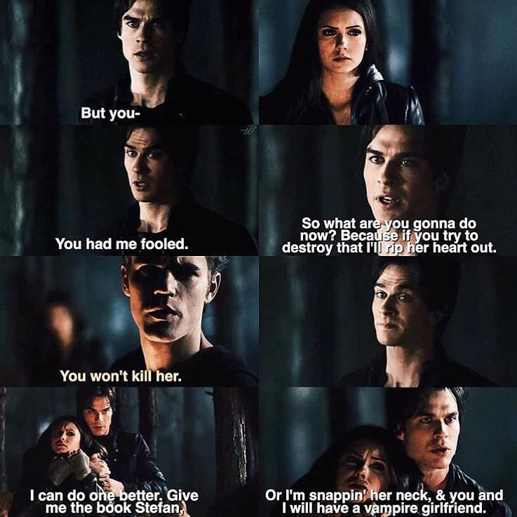 Lol the days before Damon was in love with her. It's just funny now, given the lengths he always goes to to protect her!