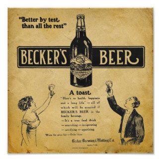 Copie vintage de bière de Beckers - signe Poster