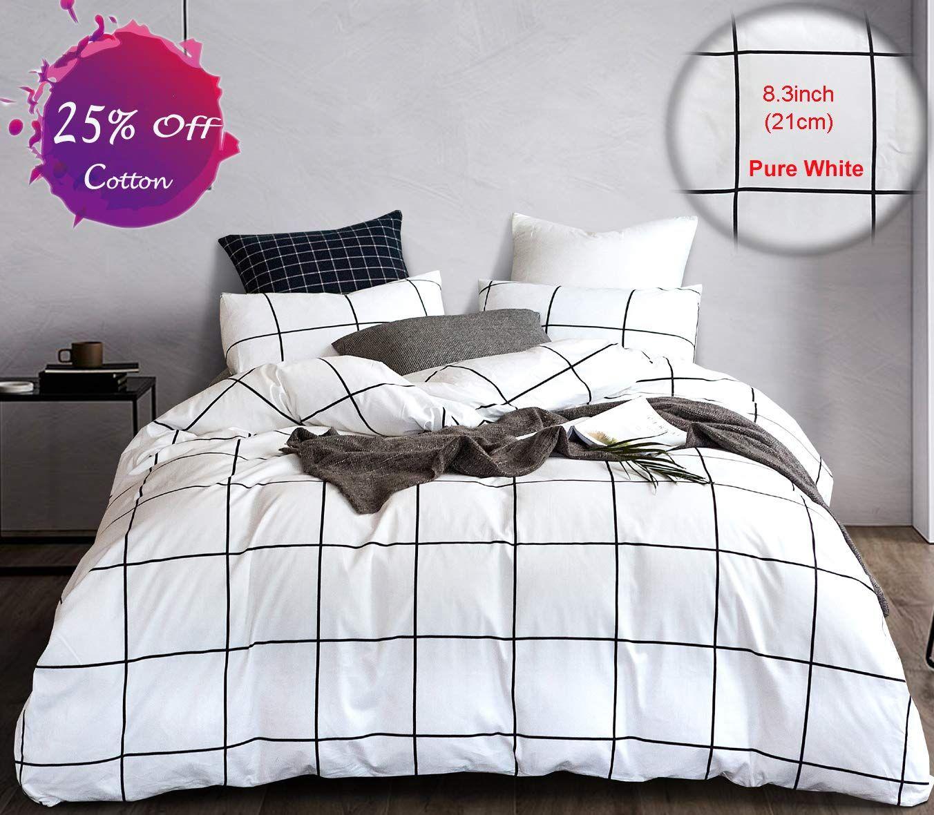 Modern Bedding White In 2020 White Duvet Covers White Duvet Plaid Bedding