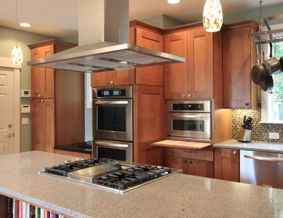 Kitchen:Impressive Kitchen Island With Cooktop And Oven Also Marble  Countertop Plus Hanging Range Hood