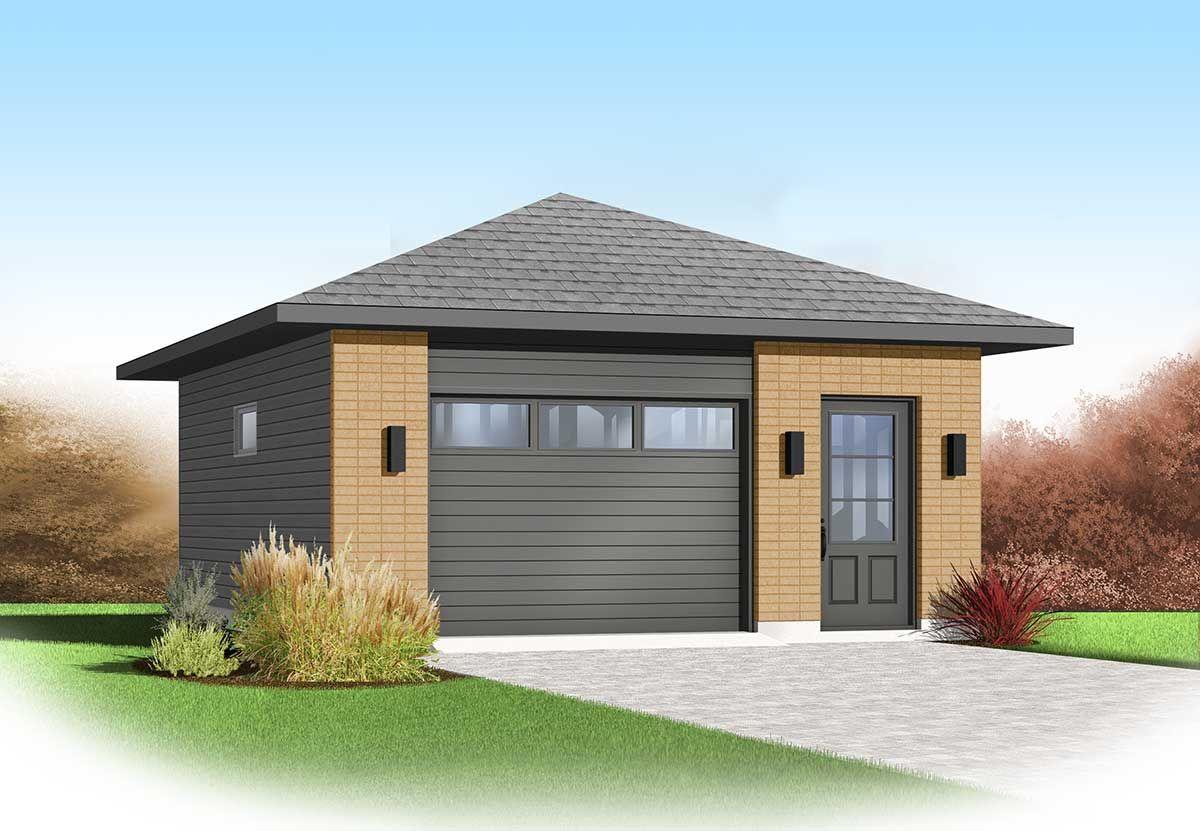 Plan 22344dr Contemporary 1 Car Detached Garage Plan In 2021 Garage Floor Plans Garage Design Garage Plans