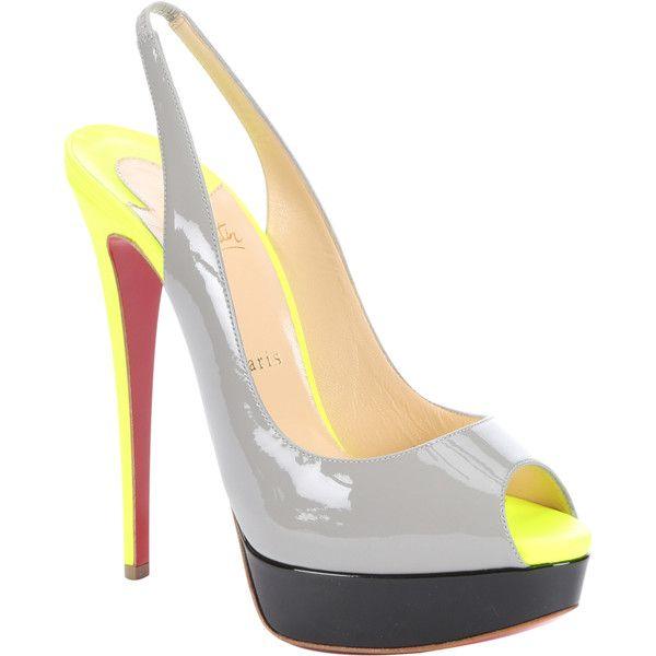 Christian Louboutin Grey Patent Calfskin And Matte Neon Yellow 'lady... ($850) ❤ liked on Polyvore featuring shoes, pumps, platform shoes, patent leather platform pumps, slingback platform pumps, gray pumps and slingback pumps