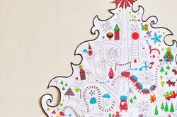 раскраска елка новогодняя для детей, большая на стену ...