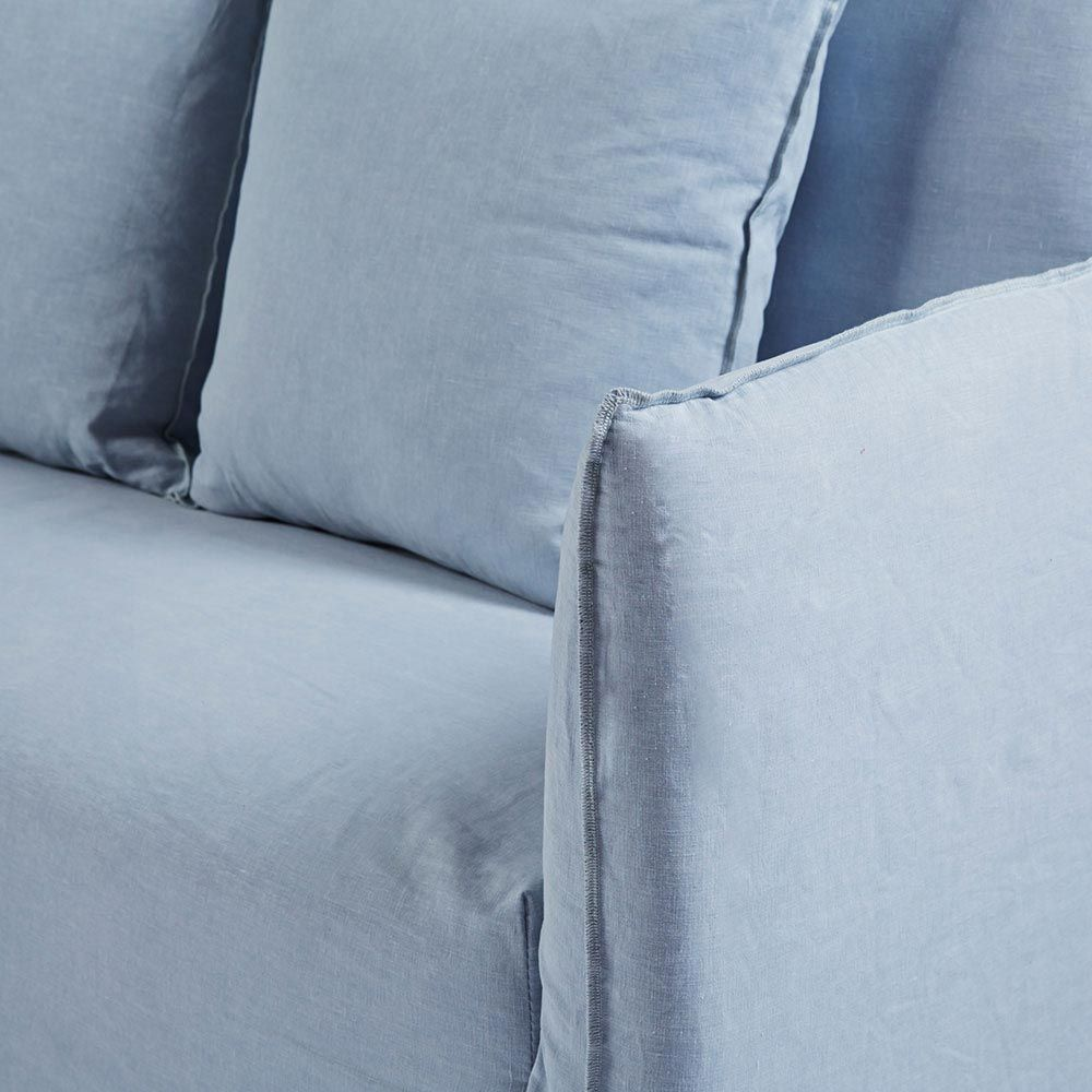 This Modern Designer Light Blue Slipcover Sofa Is Made From 100 Washed Italian Linen Which Removable And Washable A Coastal Yet Look