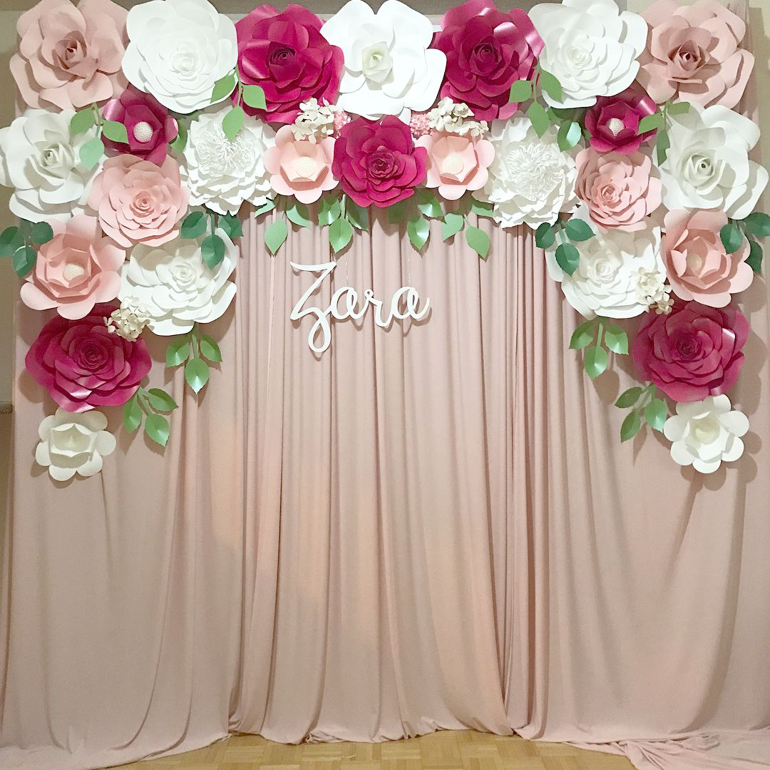 Pink Paper Flower Backdrop With Dusty Pink Curtains Rental