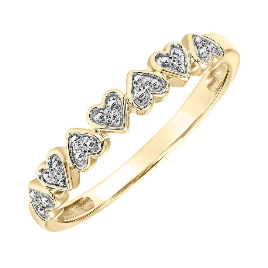 Lovemark 10k Gold Diamond Accent Heart Band 10k Gold Ring Heart Band Gold