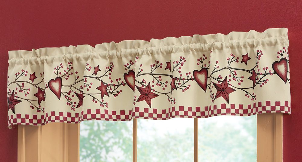 "Country Primitive Stars & Berries Window Valance 71""W x 14 ..."