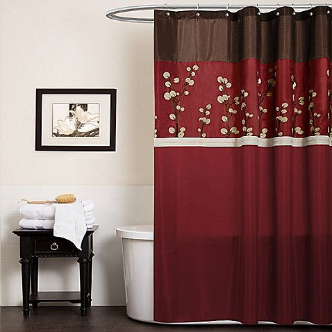 Cocoa Flower Red Fabric Shower Curtain Red Shower Curtains