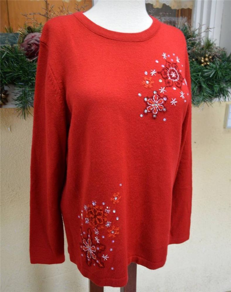 White Stag Embellished Snowflake Tunic Sweater L Red White Holiday ...