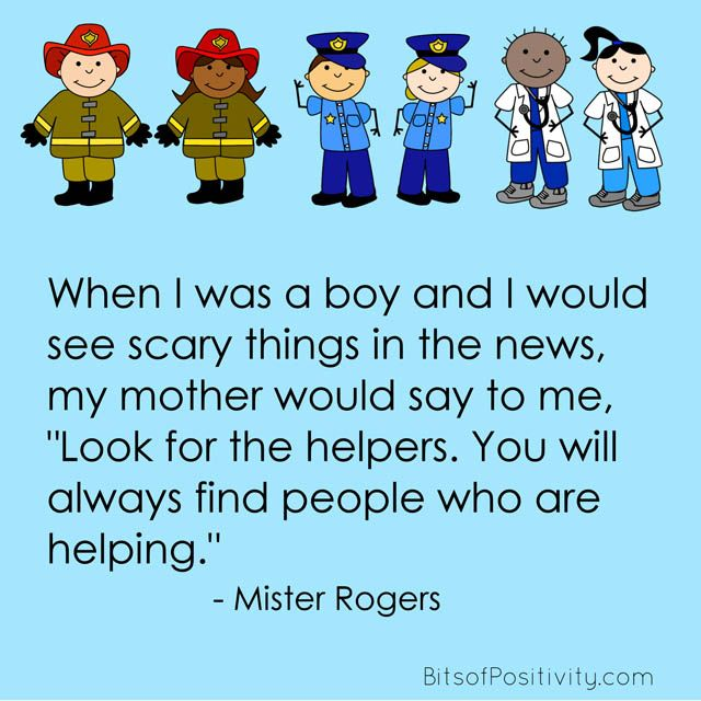 Look For The Helpers Mister Rogers Word Art Freebie Mr Rogers Helper Quote Community Helpers Theme