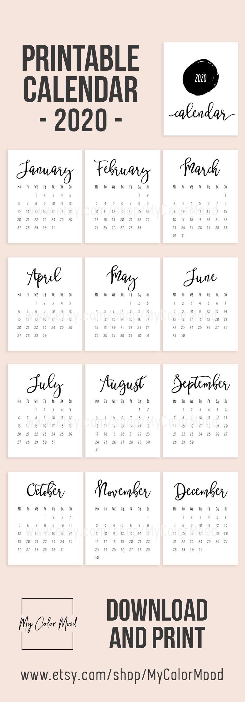 2020 Calendar Printable Monthly Calendar 2020 Wall Calendar Pages Modern Minimalist Typography Calendar Office Calendar Planner Download In 2020 Calendar Pages Monthly Calendar Printable Calendar Printables