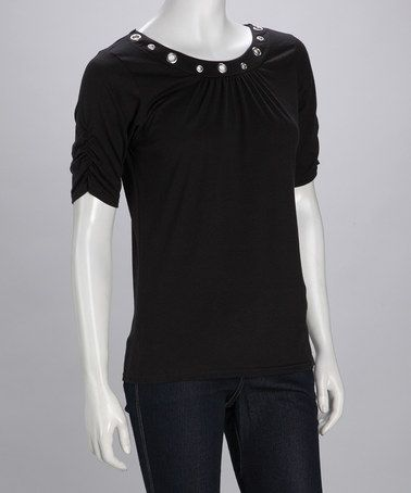 Take a look at this Black Grommet Top  by Wardrobe Staples: Women's Tops on #zulily today!