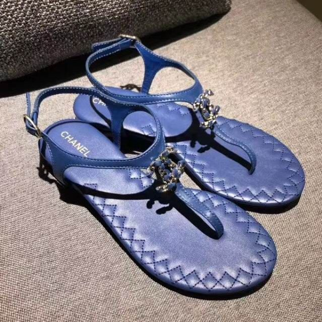 8023175768fe Chanel Thong Sandals with Chain CC Leather Flat Blue