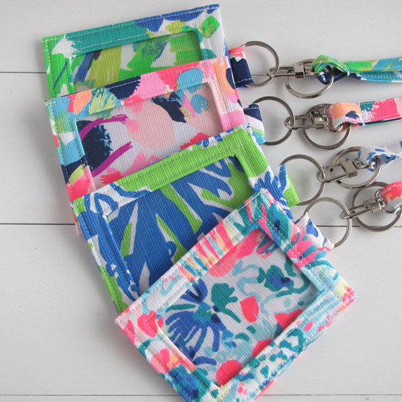 big sale c823c 7c44f Lilly Pulitzer Fabric ID Holder, Teacher ID Lanyard, Key Card Holder ...