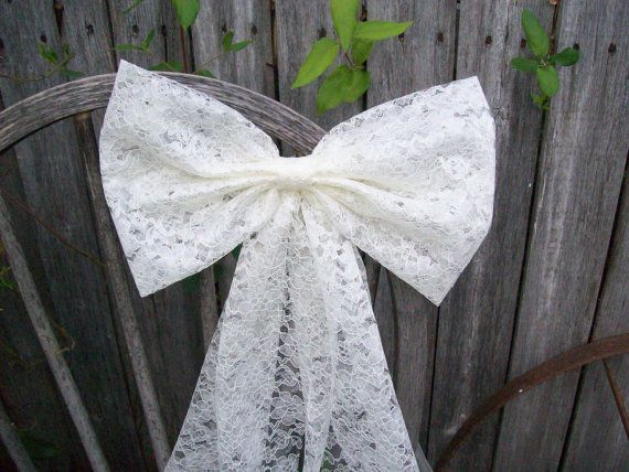 Lace Pew Bow Ivory Bow White Lace Bow Wedding Aisle By Onefunday In 2020 Lace Wedding Decorations Wedding Aisle Decorations Pew Bows