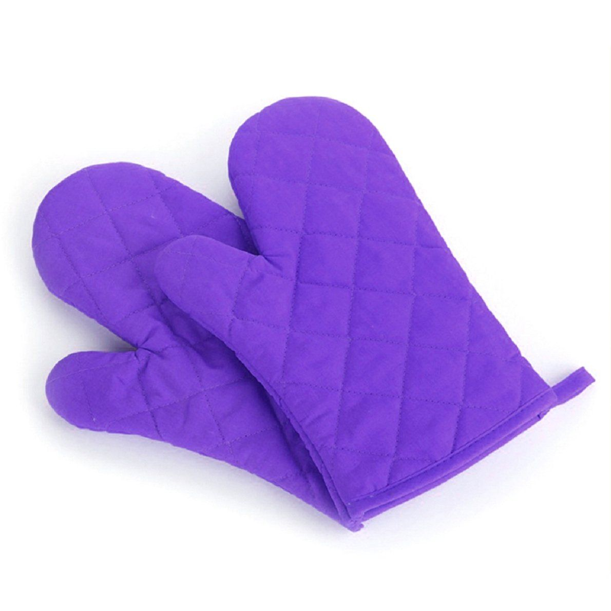 Aokdis (Tm) Hot Selling 2pcs Cotton Oven Gloves Heat Resistant Microwave Oven Kitchen Glove (purple)
