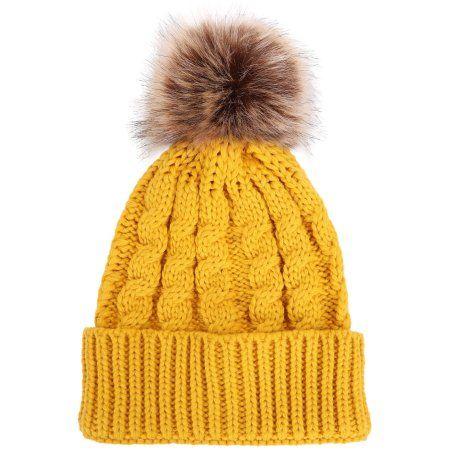 b9f239b1b Simplicity Men / Women's Winter Hand Knit Faux Fur Pompoms Beanie ...