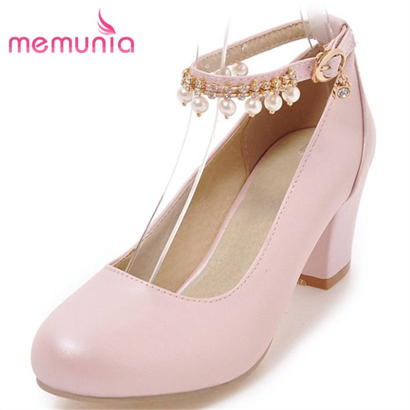MEMUNIA women high heels shoes fashion round toe rhinestone pumps simple  sweet big size new arrive single shoes e83740e673f8