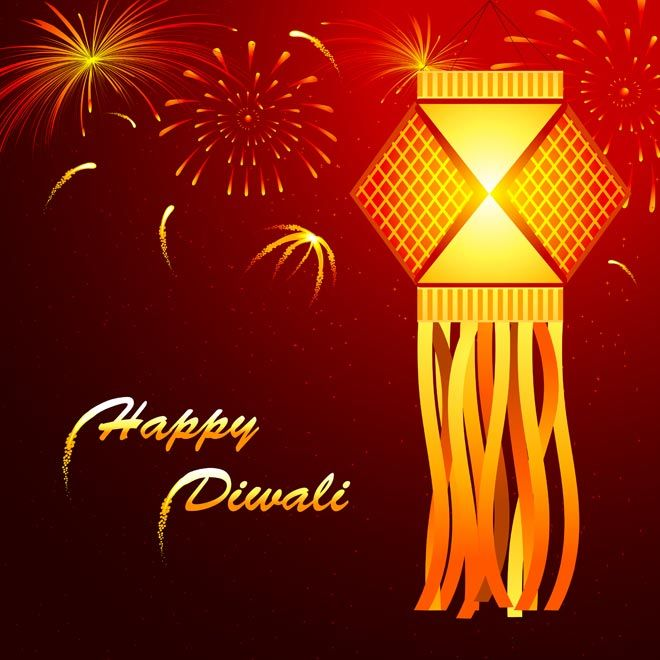 abstract beautiful glowing lantern happy diwali card with beautiful fireworks in background vector card template