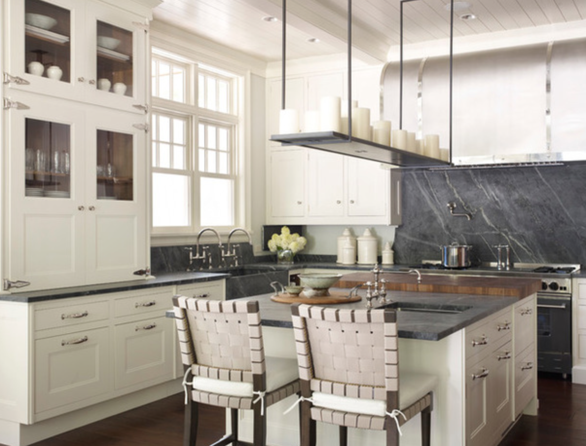 Soapstone Butcher Block Cream Cabinets Old School General Store Cabinets And High Ceilings With Shiplap Kitchen Inspirations Kitchen Design Kitchen Remodel