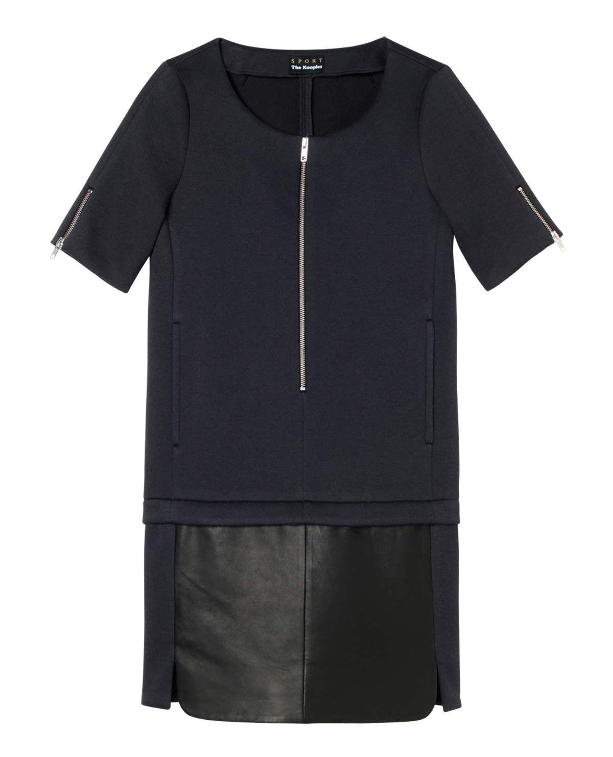 robe bi mati re avec jupe cuir robes outlet femme. Black Bedroom Furniture Sets. Home Design Ideas