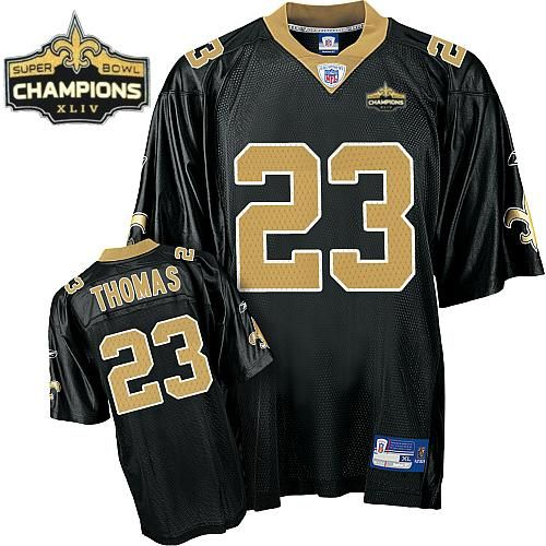 the latest 805fc b955b Saints #23 Pierre Thomas Black Super Bowl XLIV 44 Champions ...