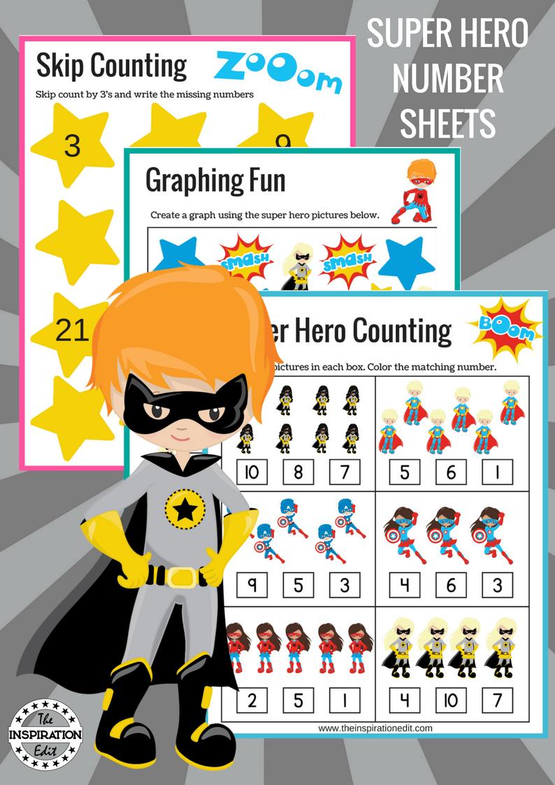 Super Hero Counting Sheets Superhero Superheroworksheets Superheroprek Prek Kindergarten Eyfs Pr Super Hero Activities Graphing Fun Preschool Activities [ 1123 x 794 Pixel ]