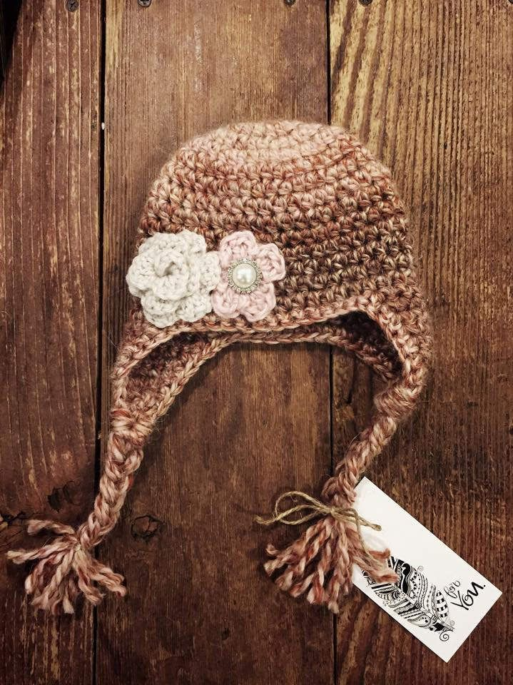 Sweet Copper Rose Crochet Baby Hat with earflaps and flower/pearl embellishments, 0-3 Months by MarybethStitches on Etsy