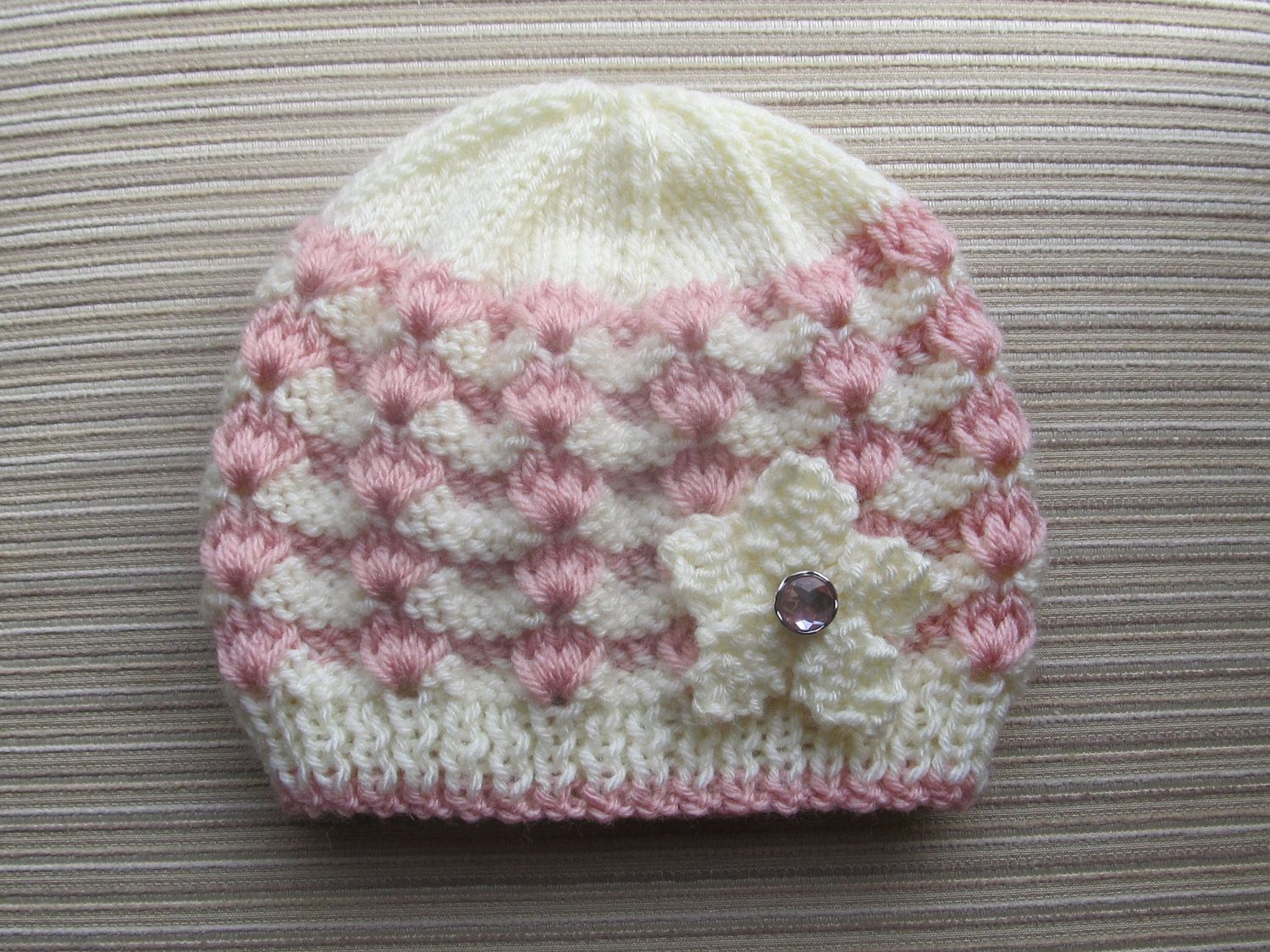 Number 84 Knitting Pattern White and Pink Hat by handknitsbyElena ...