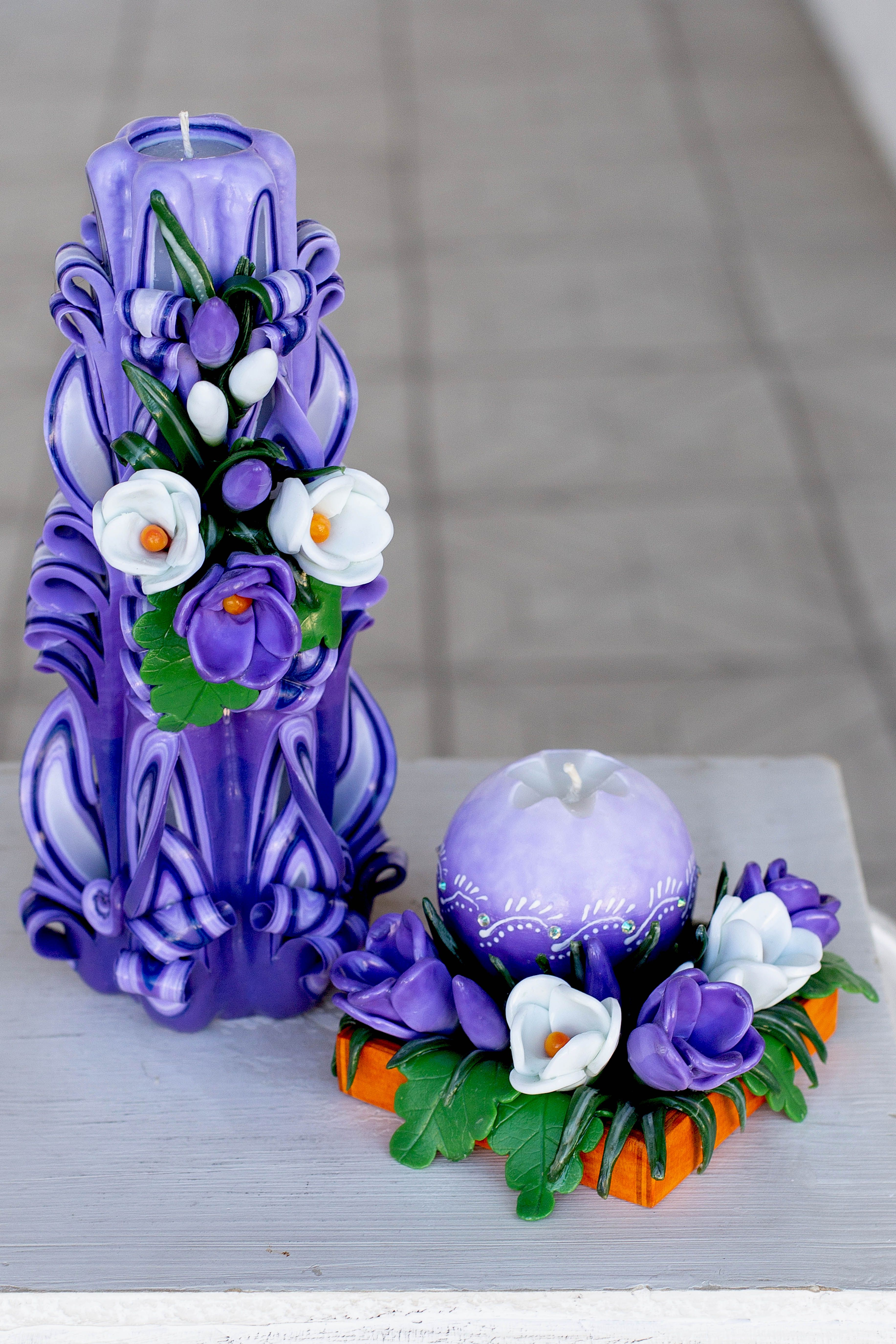 Carved Candle With White And Puple Crocuses Unique Gift For Mom