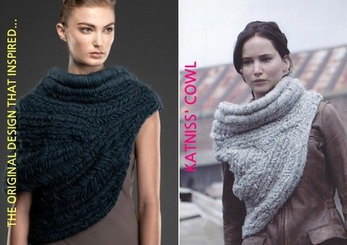 Knitting and crochet patterns inspired by Catching Fire's Katniss Everdeen's hunting vest or cowl in new Hunger Games film original design is a art textile weave not knitting