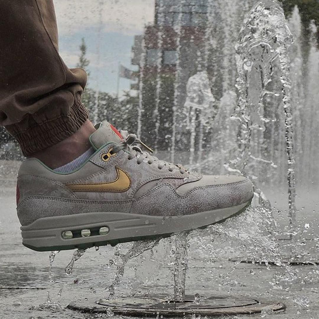 "'1⃣4⃣ WMNS Nike Air Max 1⃣ QS ""YOTH"" , worn by @apollo91000!! Great splash  shot  Bro , I love a splash pic ! Really nice details and materials on these ! Keep # tagging #everythingairmax ✌️"