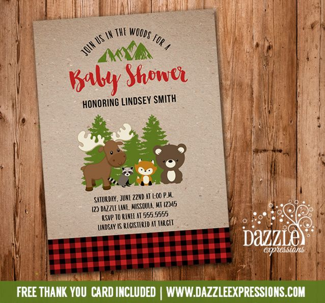 printable rustic woodland baby shower invitation | lumberjack, Baby shower invitations