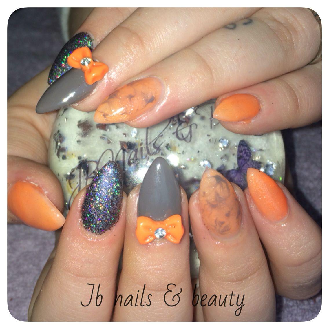 Hard gel nail extensions with grey \u0026 orange gel polish nail