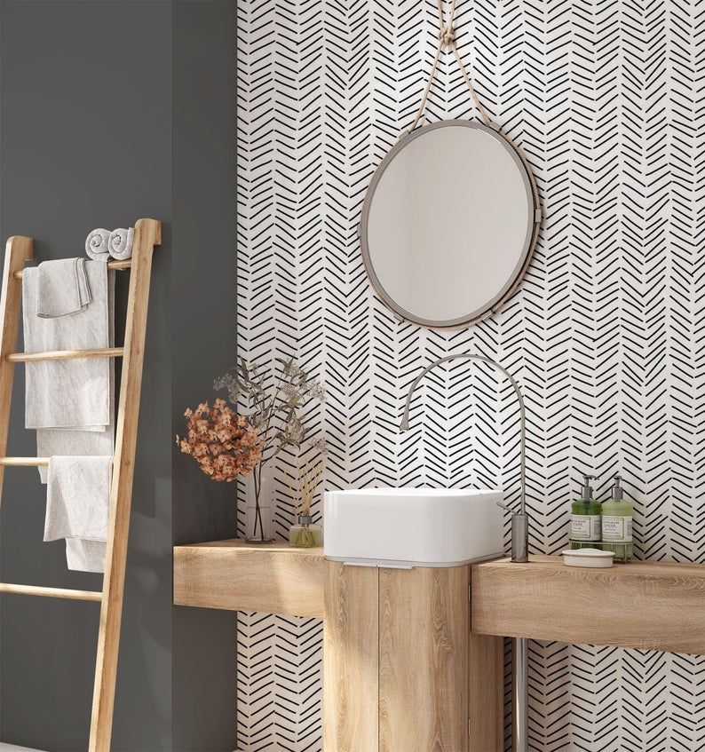 Minimalist Removable Wallpaper Chevron Wallpaper Modern Wallpaper Peel And Stick Wallpaper Self Adhesive Wallpaper 033 In 2020 Removable Wallpaper Modern Wallpaper Bathroom Accent Wall